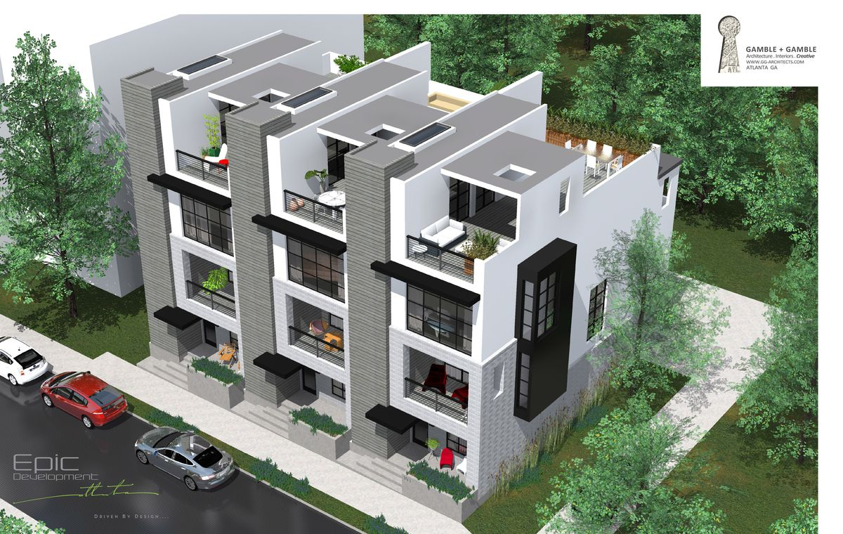 Four-story townhomes, featuring rooftop decks.
