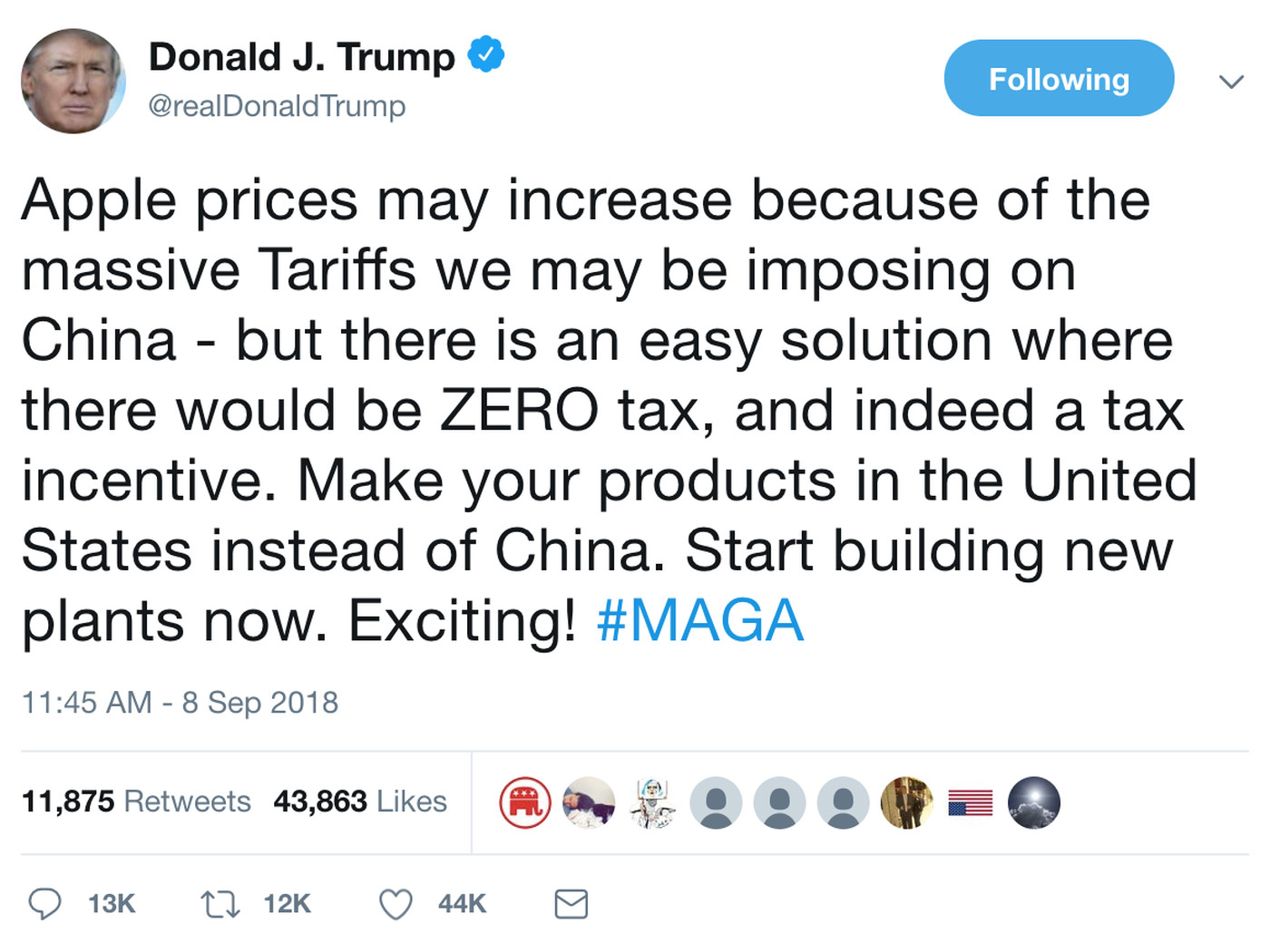 Image result for trump tweet about apple