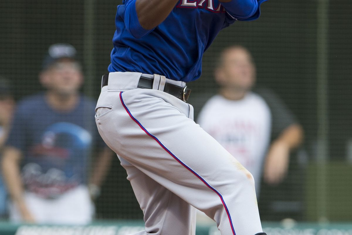 CLEVELAND, OH - SEPTEMBER 02: Jurickson Profar #2 of the Texas Rangers flys out to center during the eighth inning against the Cleveland Indians at Progressive Field on September 2, 2012 in Cleveland, Ohio. (Photo by Jason Miller/Getty Images)
