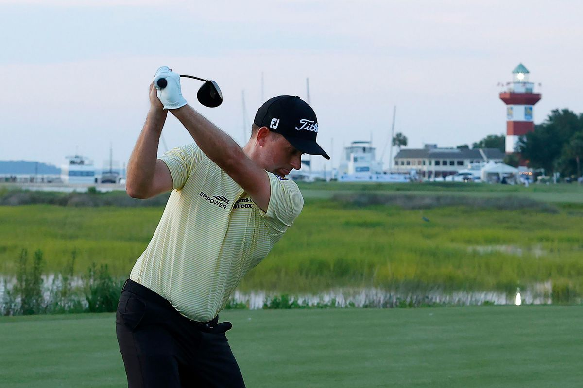 Webb Simpson of the United States plays his shot from the 18th tee during the final round of the RBC Heritage on June 21, 2020 at Harbour Town Golf Links in Hilton Head Island, South Carolina.