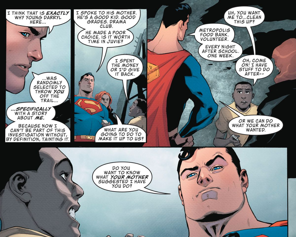 """""""What are you going to do to make it up us?"""" Superman asks a kid who might otherwise go to juvie, and then tells him to spend a week volunteering at the food bank, in Action Comics #1001, DC Comics (2018)."""