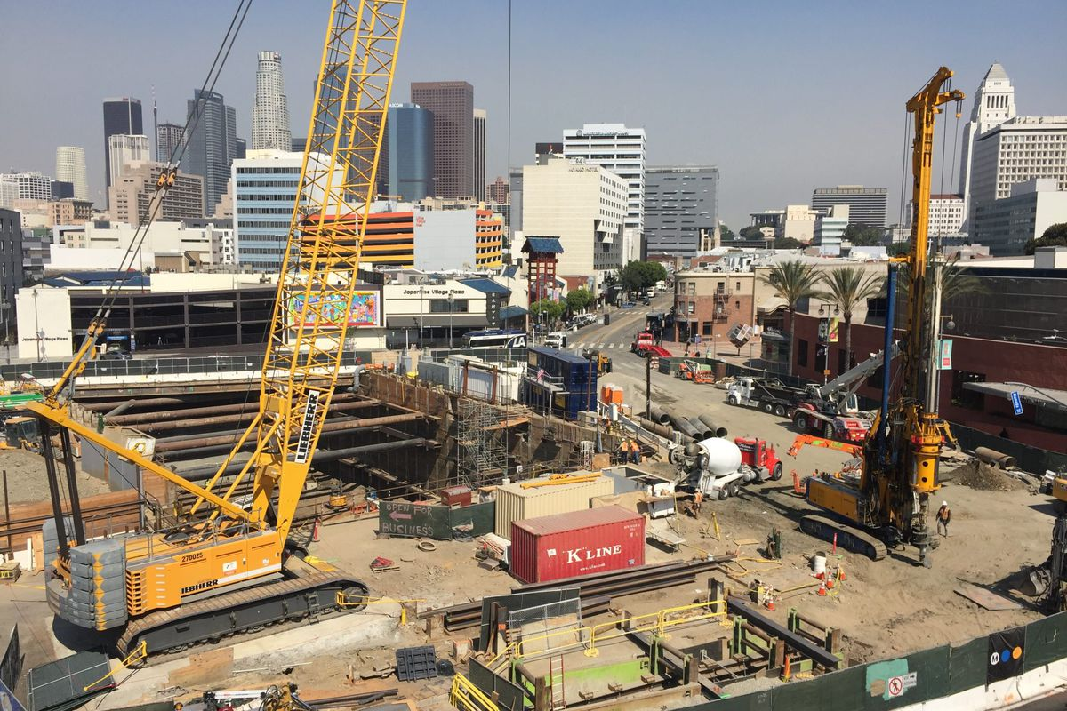An aerial view of a construction site at the Little Tokyo, Arts District station in Los Angeles.