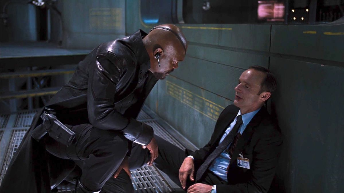 nick fury and phil coulson in the avengers (2012)
