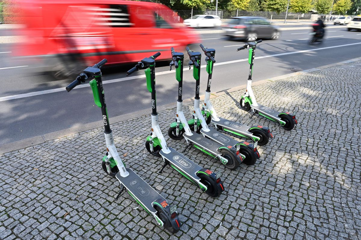 Electric scooters on the roadside in Berlin.