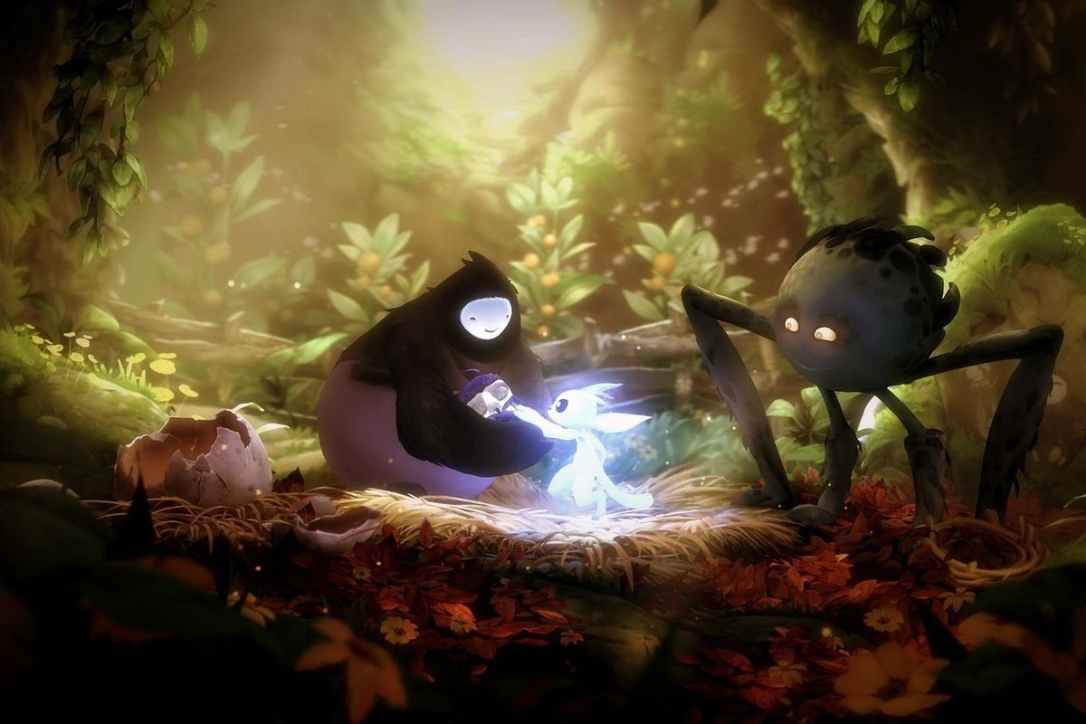 Ori surrounded by friendly creatures in Ori and the Will of the Wisps