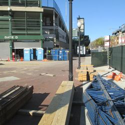 12:57 p.m. Materials stacked at the corner of Sheffield and Addison -
