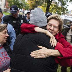 Presidential candidate U.S. Sen. Elizabeth Warren (D-MA) greets Cook County Commissioner Brandon Johnson as she joins striking Chicago Teachers Union and SEIU Local 73 members for a speech on the picket line outside Oscar DePriest Elementary School on the West Side, Tuesday morning, Oct. 22, 2019.