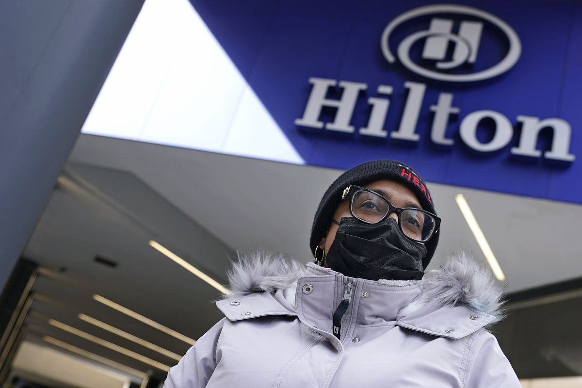 Hotel housekeeper Esther Montanez refuses to give up hope of returning to her cleaning job at the Hilton Back Bay in Boston. She worked there for six years until being furloughed in March 2020 because of slow business in the wake of the COVID-19 pandemic.