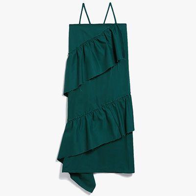 Green denim dress with ruffle