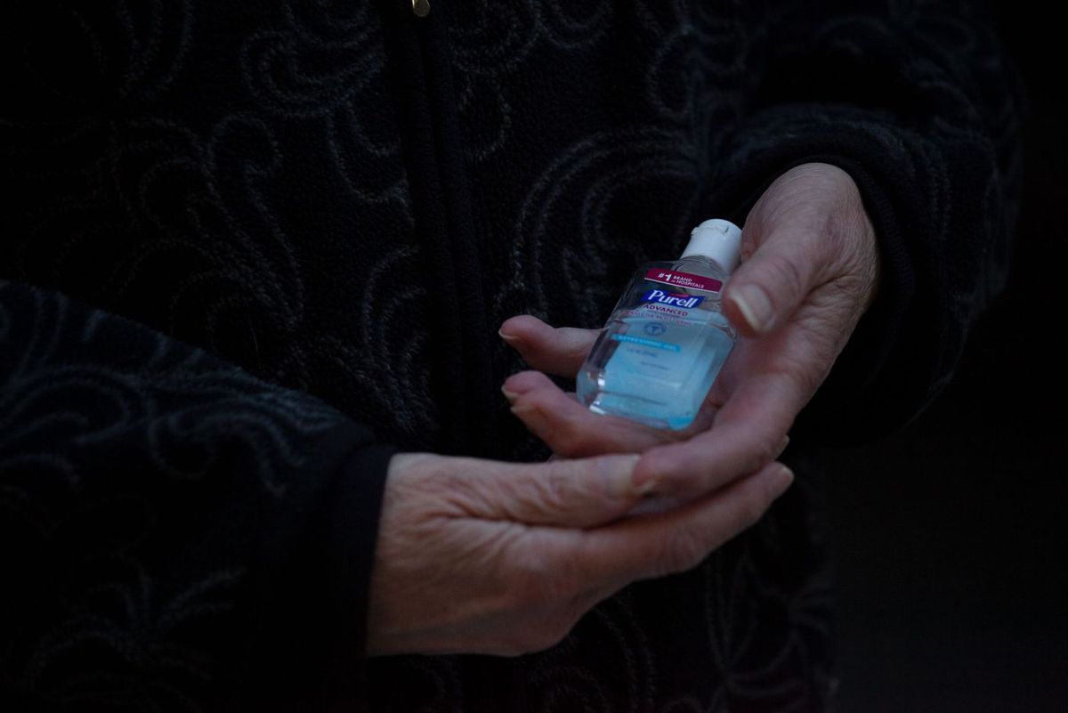 Upper East Side resident Carol Davis constantly used hand sanitizer while battling uterine cancer during the coronavirus outbreak, May 12, 2020.