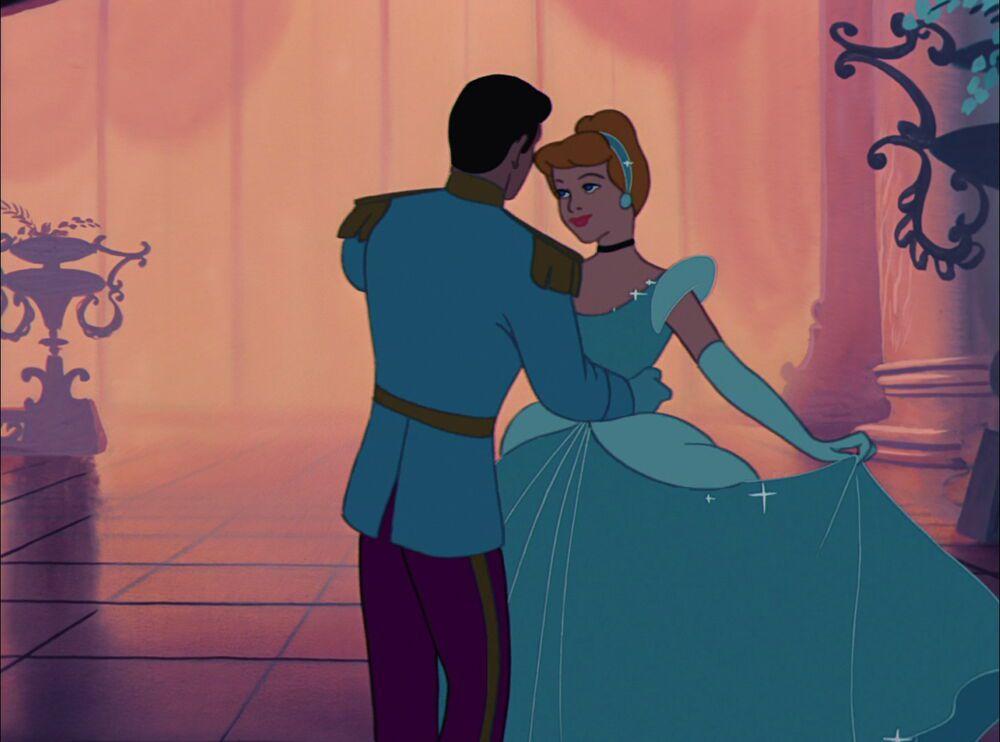 an animated cinderella and the prince dance