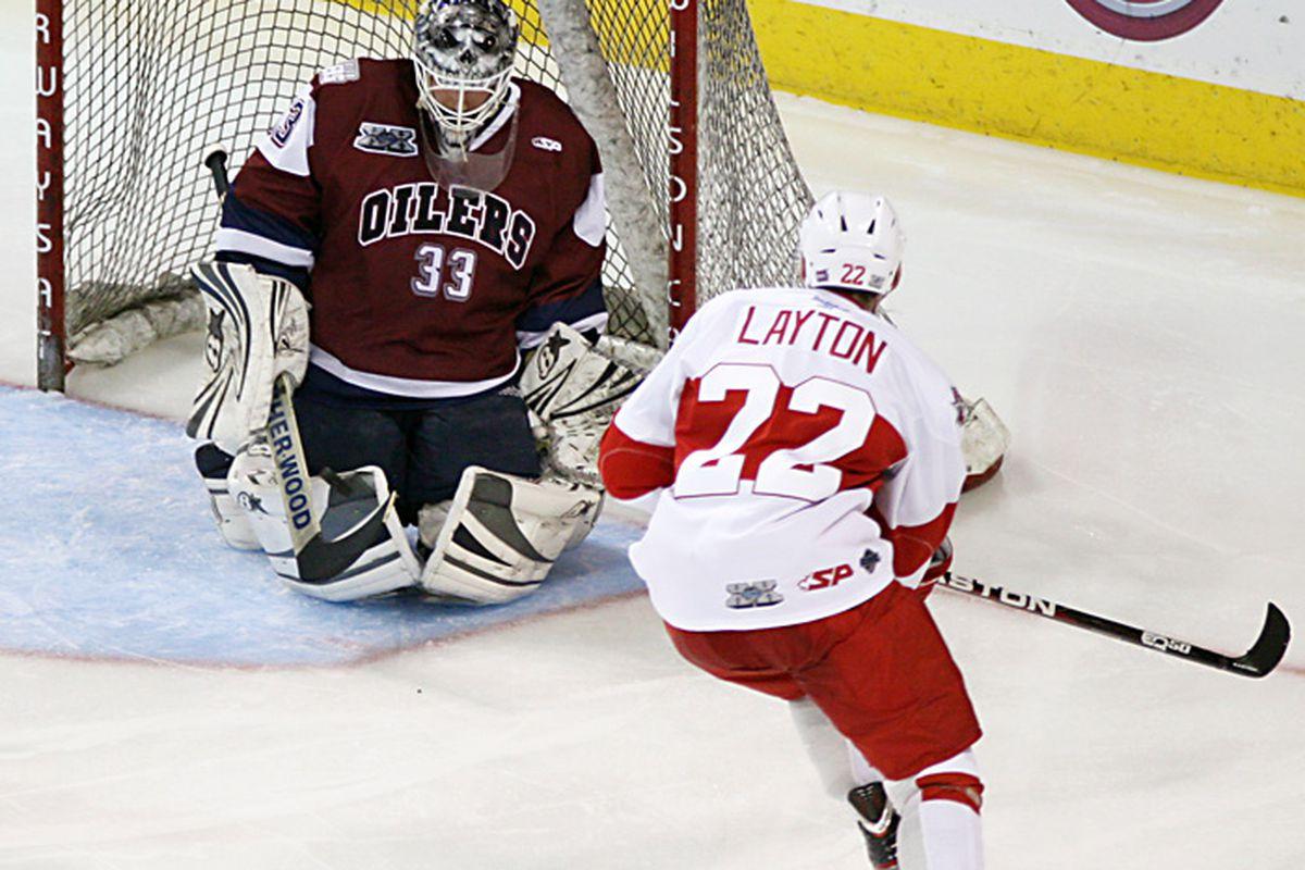 Allen Americans forward Nick Layton puts a shot on net. (photo courtesy of CHL photos blog)