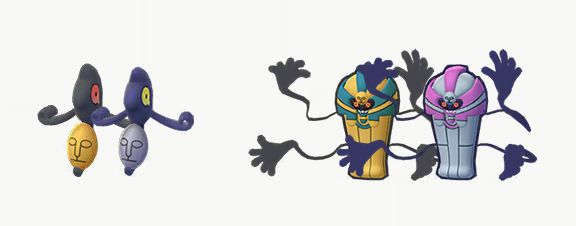 Yamask and Cofagrigus compared with their Shiny Pokémon Go forms