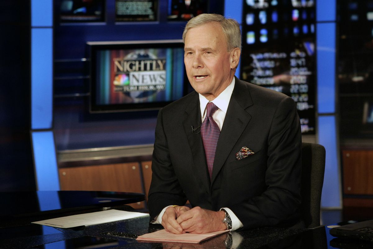 """""""NBC Nightly News"""" anchor Tom Brokaw delivers his closing remarks during his final broadcast, in New York on Dec. 1, 2004."""