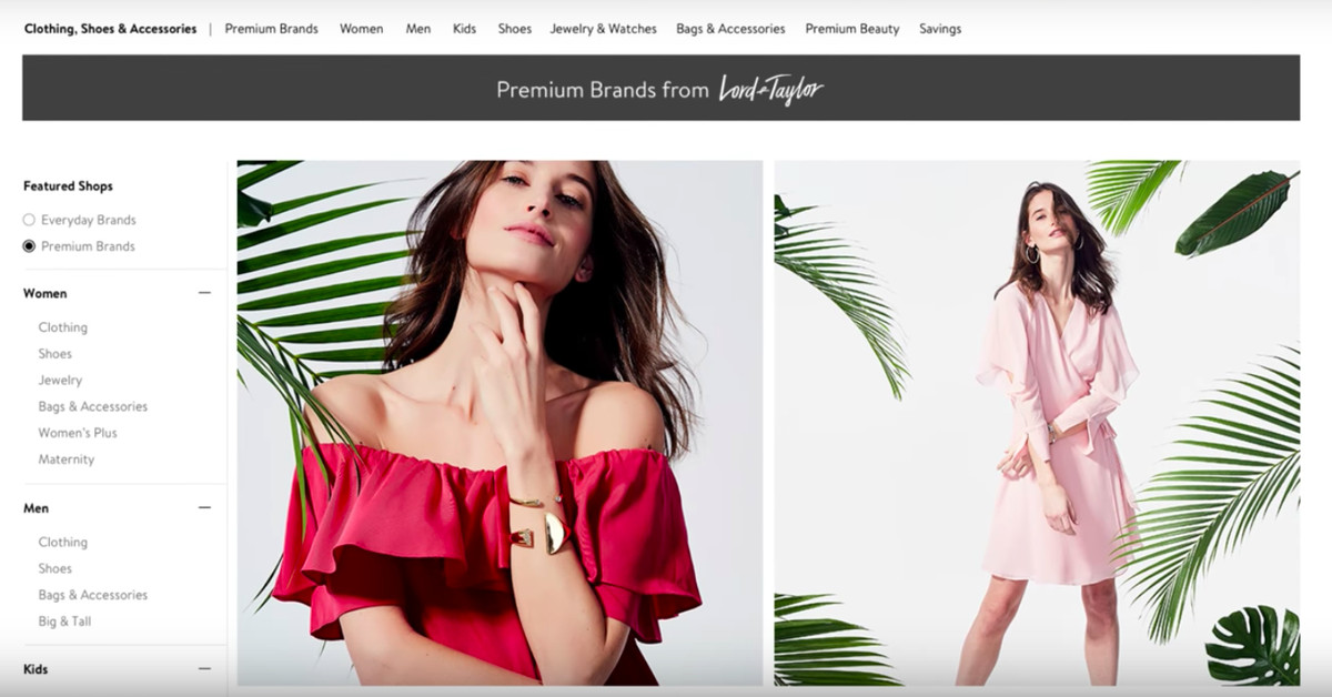 photo image Walmart's website is adding a Lord & Taylor section for premium fashion labels