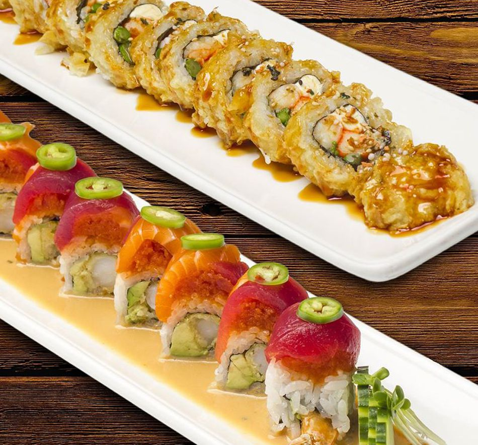 A pair of the creative sushi rolls, part of the long Japanese menu at Kaizen Fusion Roll & Sushi.