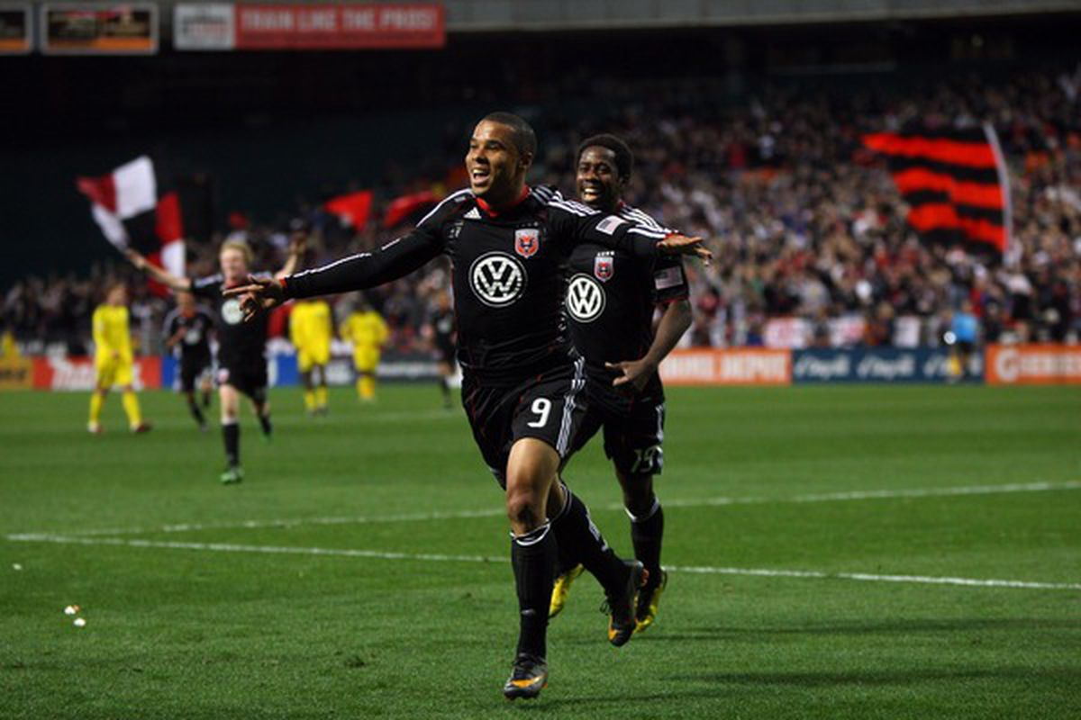 Charlie Davies #9 of D.C. United celebrates after scoring a goal against the Columbus Crew at RFK Stadium on March 19, 2011 in Washington, DC. (Photo by Ned Dishman/Getty Images)