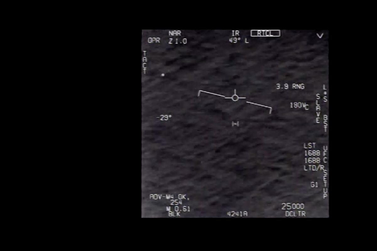 A still from a video purporting to show a UFO.