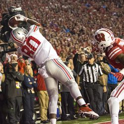 Noah Brown reaches to make a catch for Ohio State.