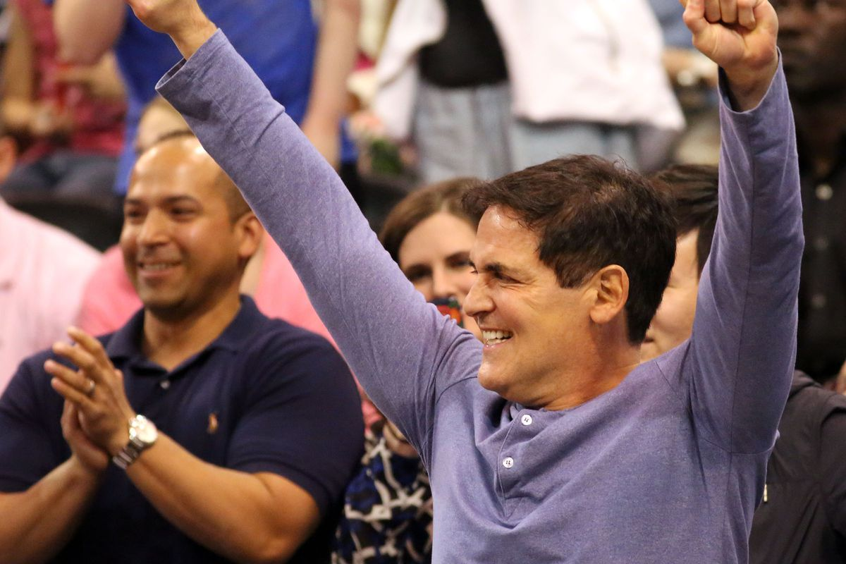 Mark Cuban, owner of the Dallas Mavericks, cheers during a basketball game between the Jazz and Mavericks at the Vivant Smart Home Arena in Salt Lake City on Monday, April 11, 2016.