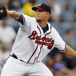 Atlanta Braves starting pitcher Mike Minor (36) works in the first inning of a baseball game against the Colorado Rockies, Wednesday, Sept. 5, 2012, in Atlanta.