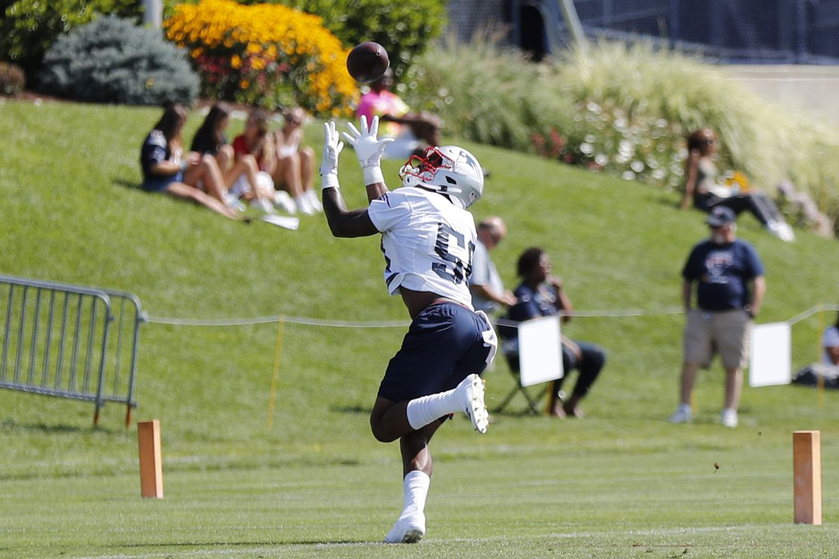 New England Patriots wide receiver N'Keal Harry hauls in a pass during Patriots Training Camp on August 2, 2019, at their training facility outside Gillette Stadium in Foxborough, Massachusetts.