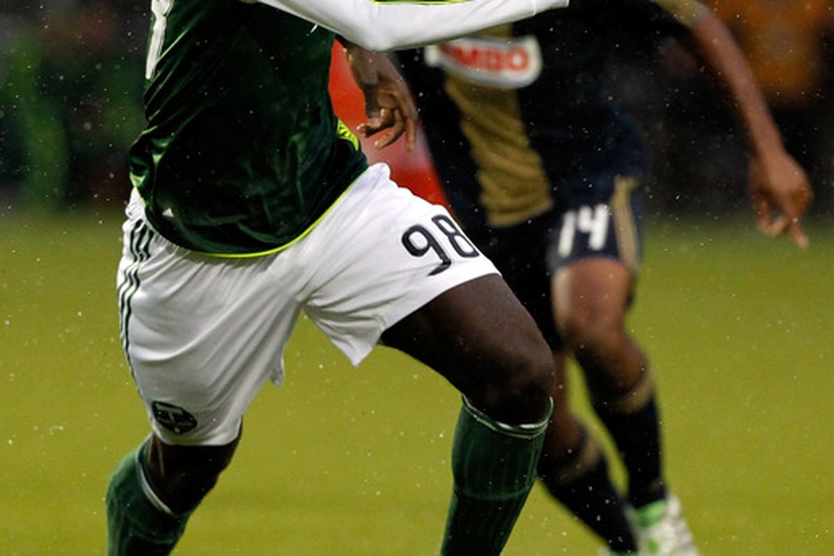 PORTLAND, OR - MAY 06:  Mamadou Danso #98 of the Portland Timbers dribbles the ball against the Philadelphia Union  on May 6, 2011 at Jeld-Wen Field in Portland, Oregon.  (Photo by Jonathan Ferrey/Getty Images)