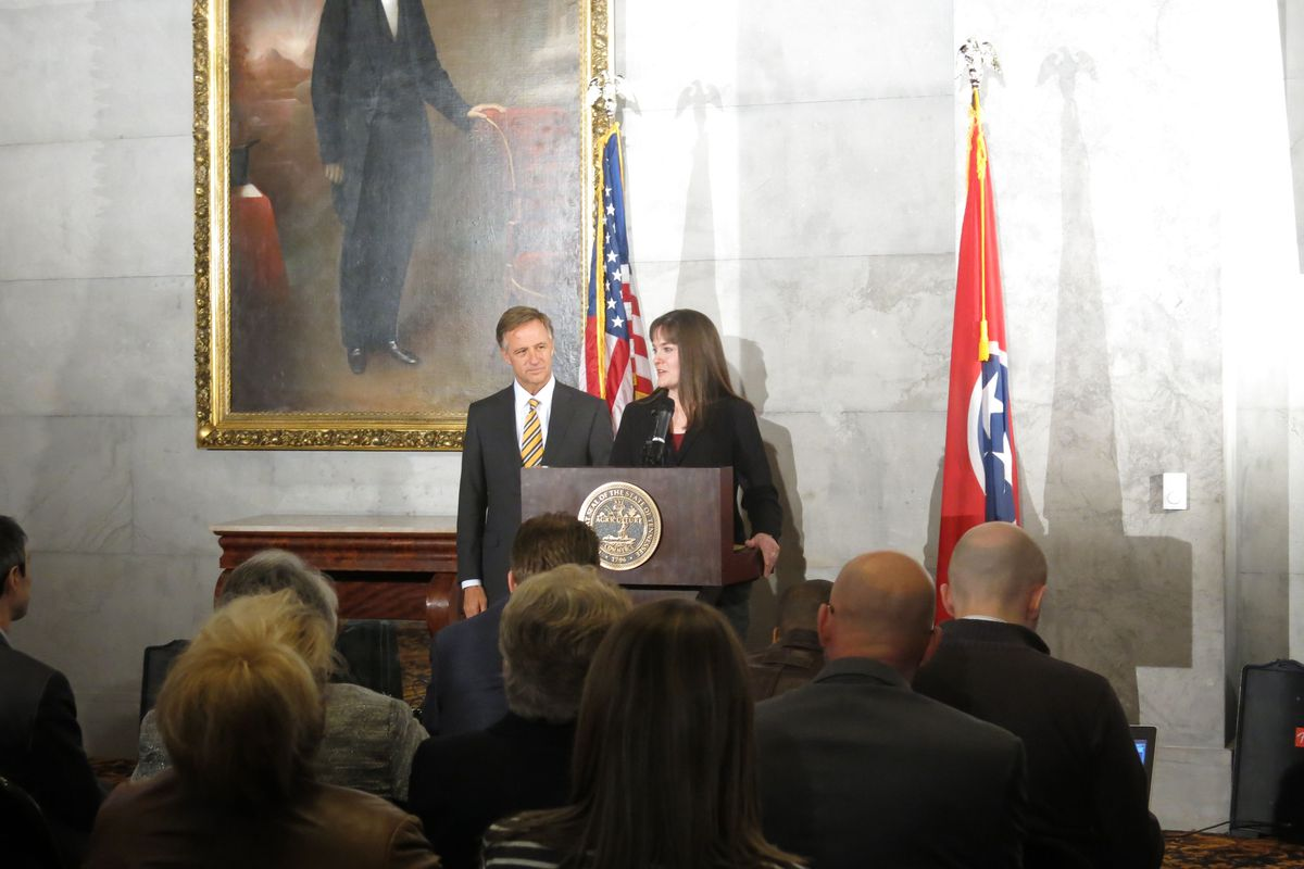 Candice McQueen and Bill Haslam announced McQueen's new job at the state capitol.