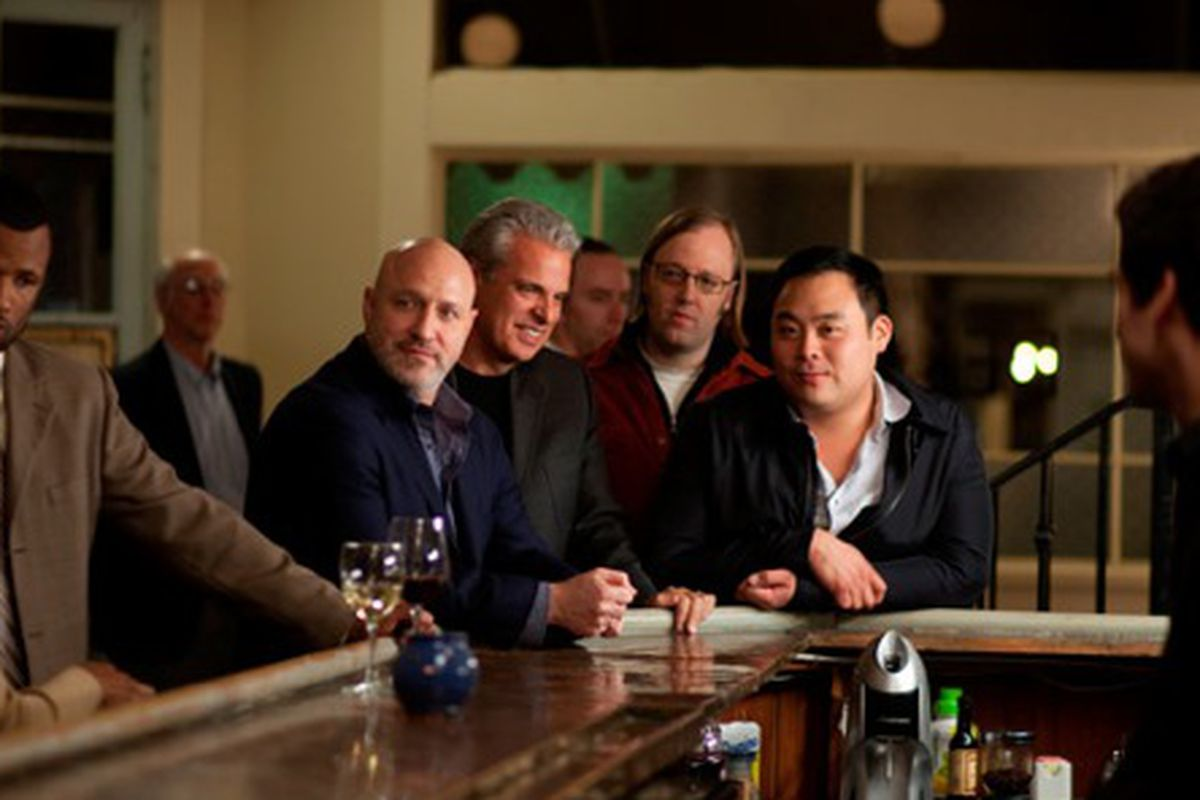 Eric Ripert, Tom Colicchio, Wylie Dufresne and David Chang in their cameo on Treme.