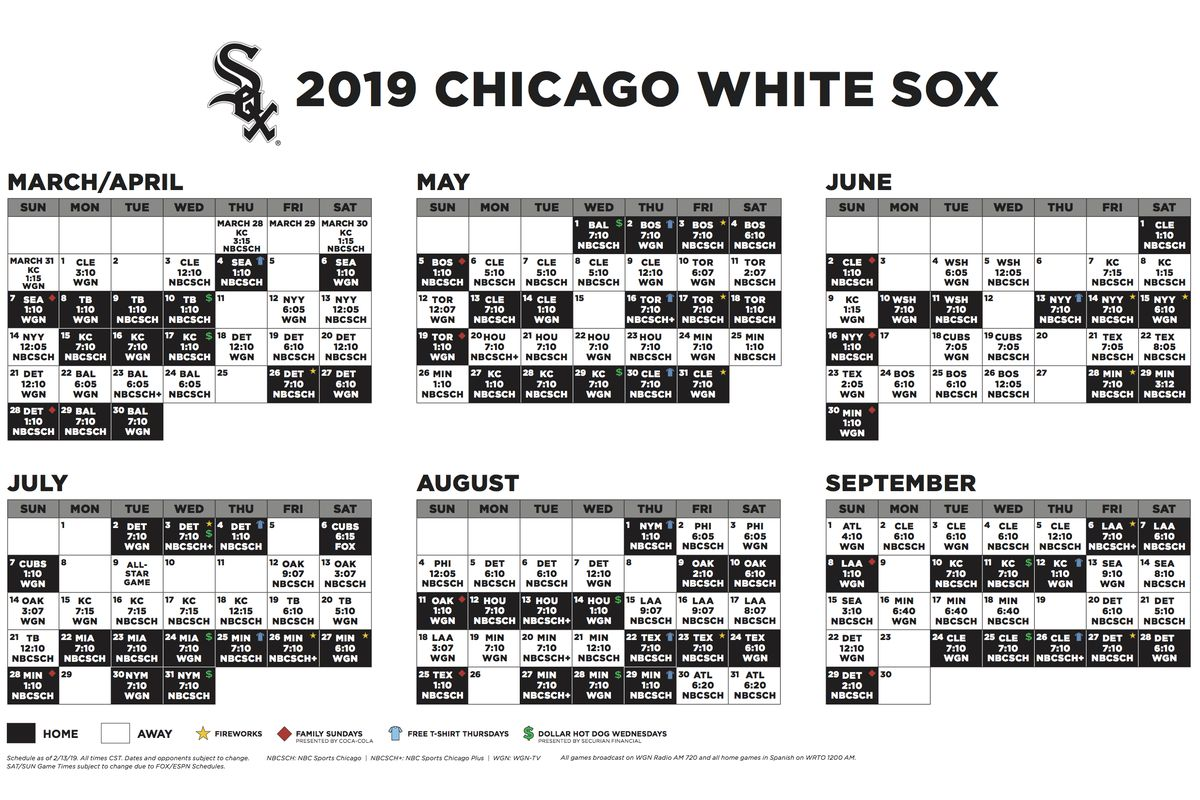 2019 White Sox broadcast schedule - South Side Sox