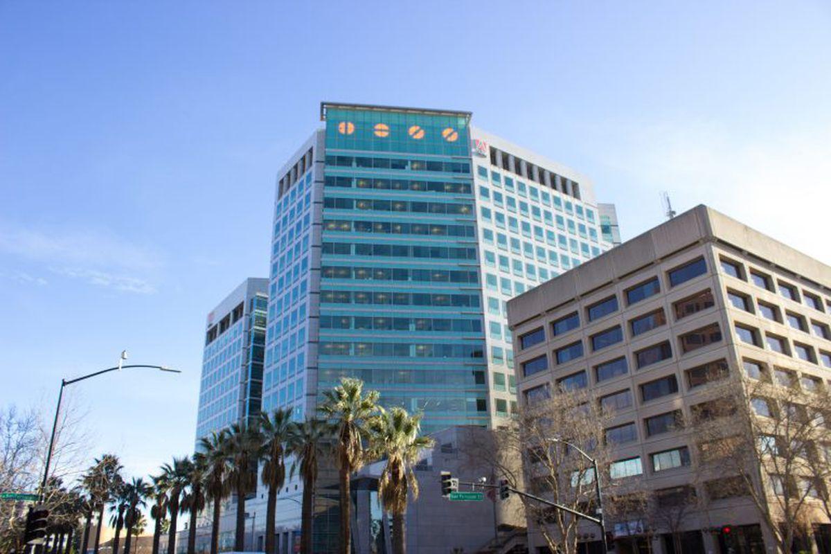 Semaphore atop Adobe's San Jose headquarters.