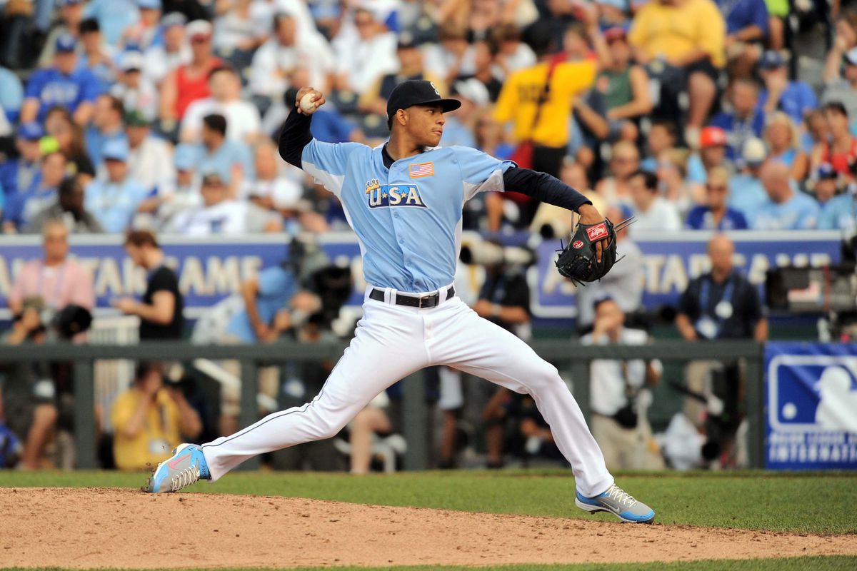 July 9, 2012; Kansas City, MO, USA; USA team pitcher Taijuan Walker (44) delivers a pitch in the seventh inning of the 2012 All Star Futures Game at Kauffman Stadium. Mandatory Credit: Denny Medley-US PRESSWIRE