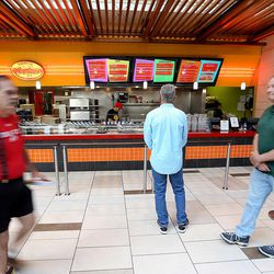 Libertarian presidential candidate Gov. Gary Johnson decides what to order for lunch at Taste of Red Iguana at the food court at City Creek Center as he and running mate Gov. Bill Weld pay a visit to Salt Lake City for a speech at the University of Utah on Saturday, Aug. 6, 2016.