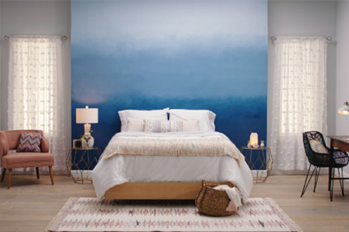 ombre paint effect on a bedroom wall