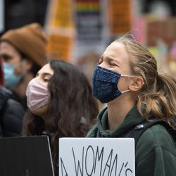 Hundreds of people participate in the Women's March.