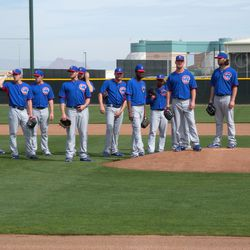 Pitchers ready for fielding drills -- Travis Wood up next