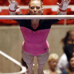 BYU's Natalie Pickard performs on the bars at the NCAA Salt Lake Regional Gymnastics Saturday, April 7, 2012 in Salt Lake City.