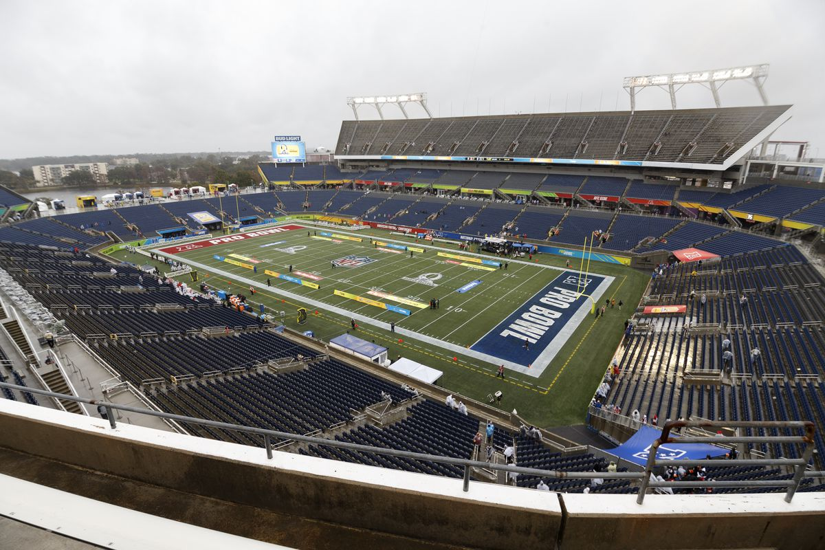A general view from above inside Camping World Stadium before the start of the 2019 NFL Pro Bowl Game on January 27, 2019 in Orlando, Florida.