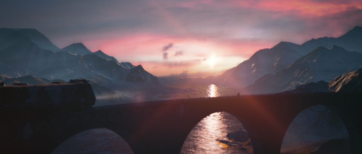 the ending of Hitman 3: the sun rises over a river in the Carpathian Mountains as Agent 47 walks away from a train stopped on an arched bridge