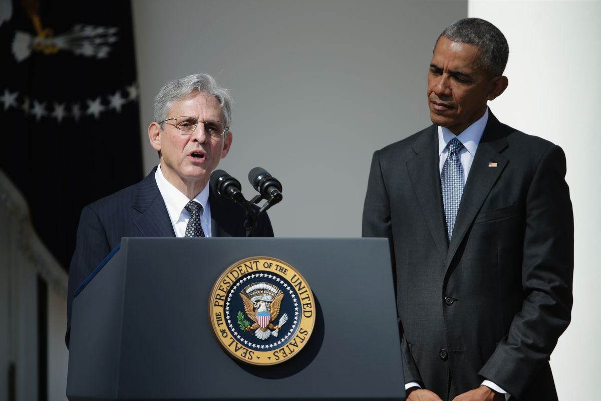 Merrick Garland speaks in the Rose Garden after being nominated to the Supreme Court by President Obama.