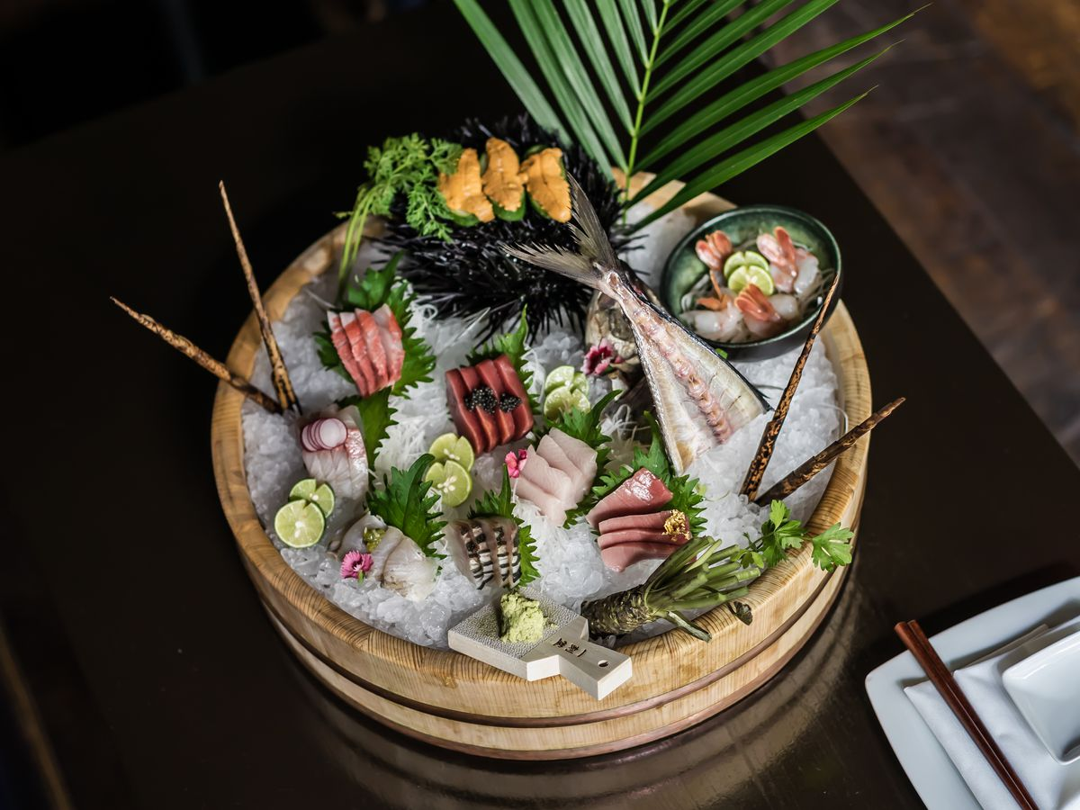 Pretty bowl of sushi and raw seafood