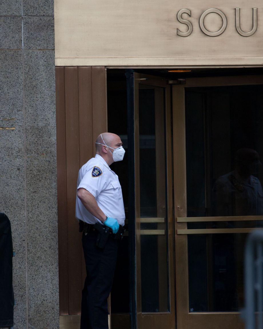 An officer outside Manhattan Criminal Court.