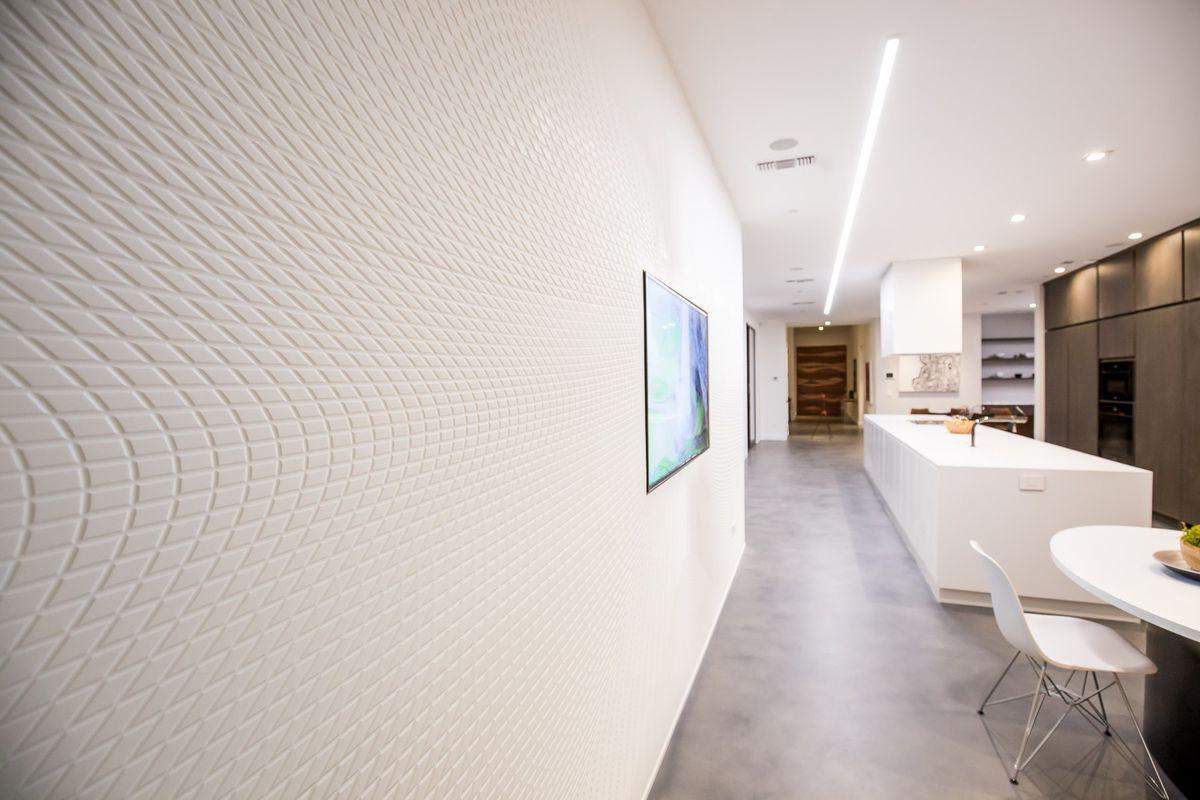 Textured white walls in kitchen