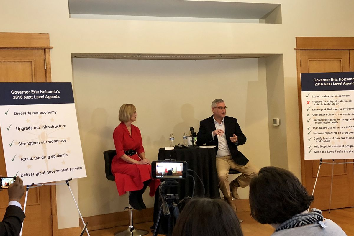 Gov. Eric Holcomb addressed reporters Monday. He's asking lawmakers to return for a special session in May.
