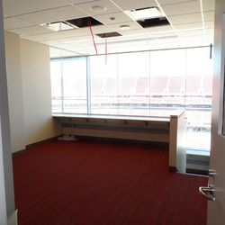 This is the same home coaching box with the broader view. I suspect Roman would be down the stairs in that front area