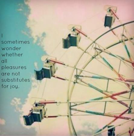 """I sometimes wonder if all pleasures are not substitutes for joy."" — C.S. Lewis"
