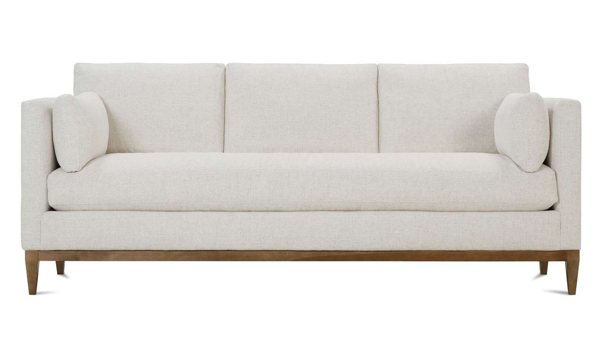 A light gray colored couch.