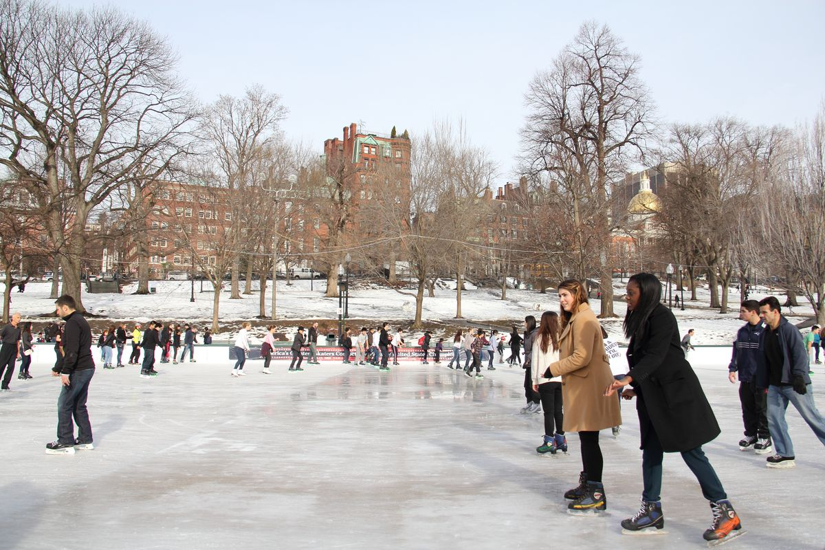 People ice-skating in Boston Common.