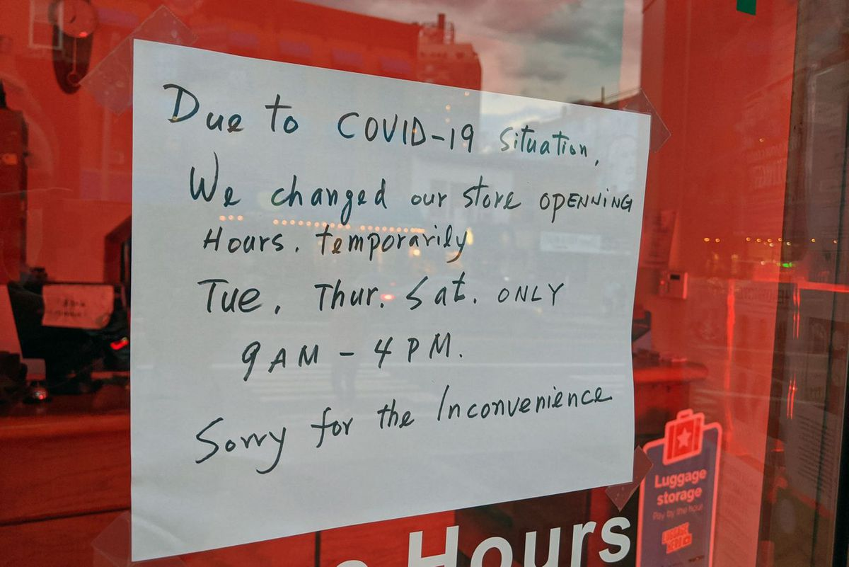 At Sam's Cleaner in Fort Greene, hours have been reduced from six to three days a week.