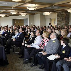 John Price speaks during a Utah Holocaust Memorial Commemoration at the Jewish Community Center in Salt Lake City, Thursday, April 19, 2012.